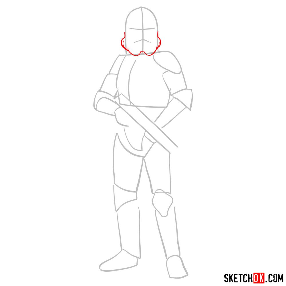 How to draw the Clone trooper - step 03