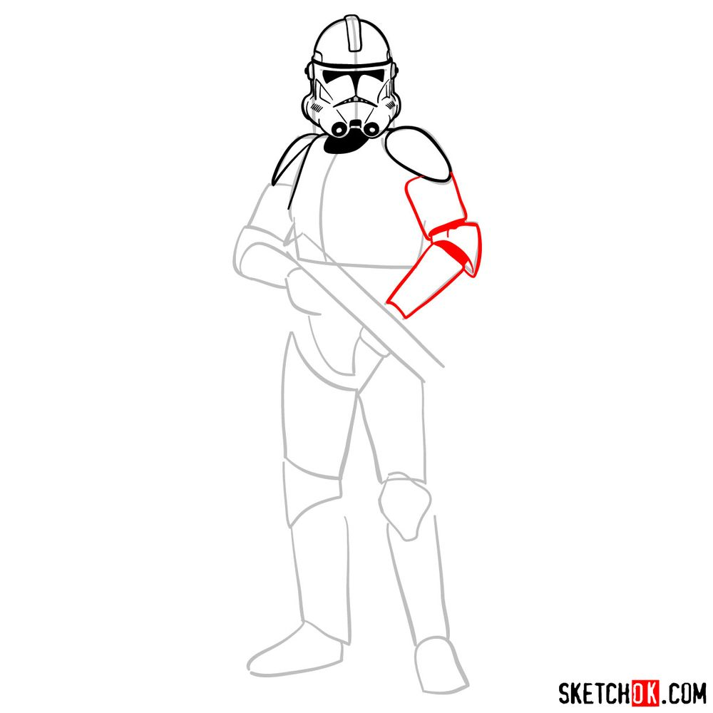 How to draw the Clone trooper - step 07