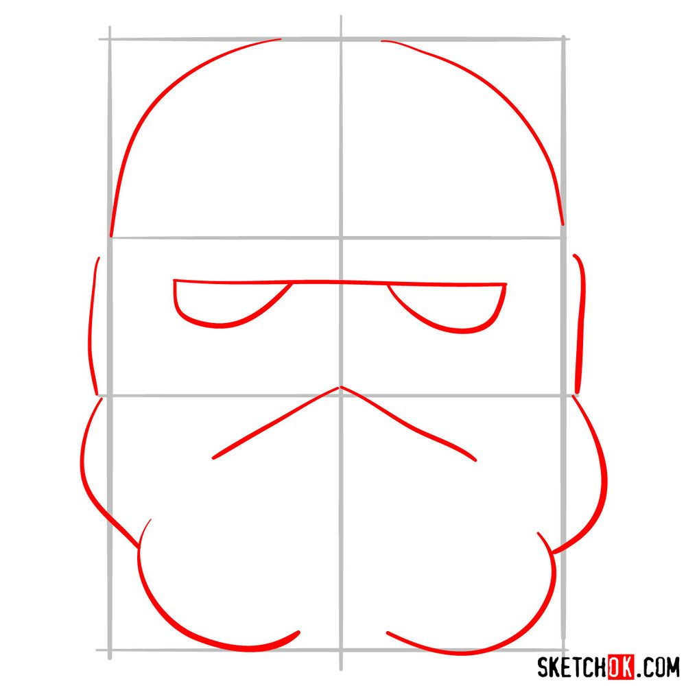 How to draw the Clone trooper's mask - step 02