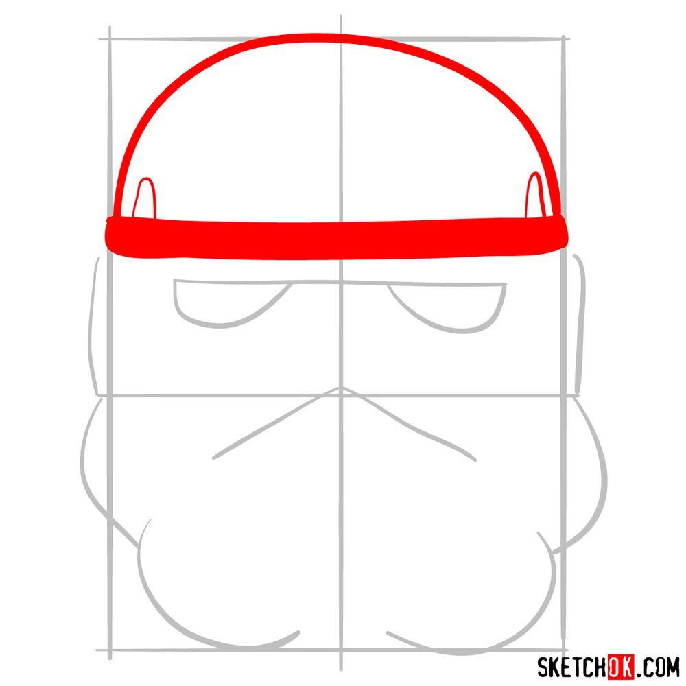 How to draw the Clone trooper's mask - step 03