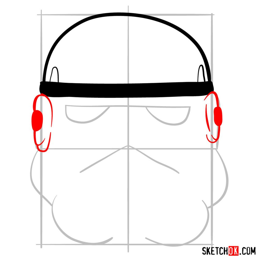 How to draw the Clone trooper's mask - step 04