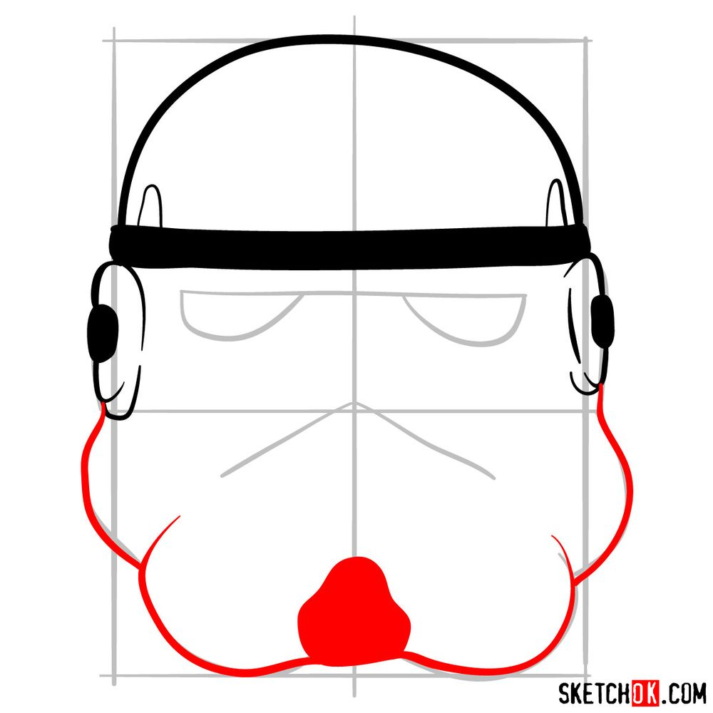 How to draw the Clone trooper's mask - step 05