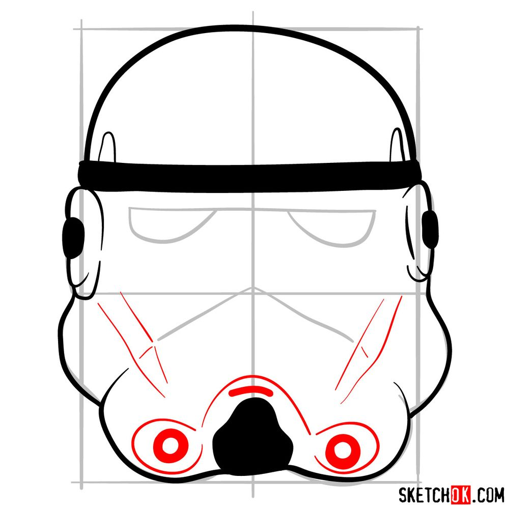 How to draw the Clone trooper's mask - step 06