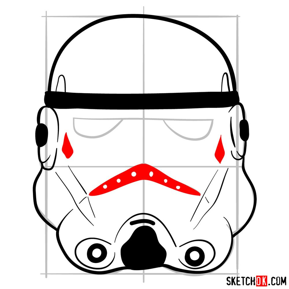 How to draw the Clone trooper's mask - step 07