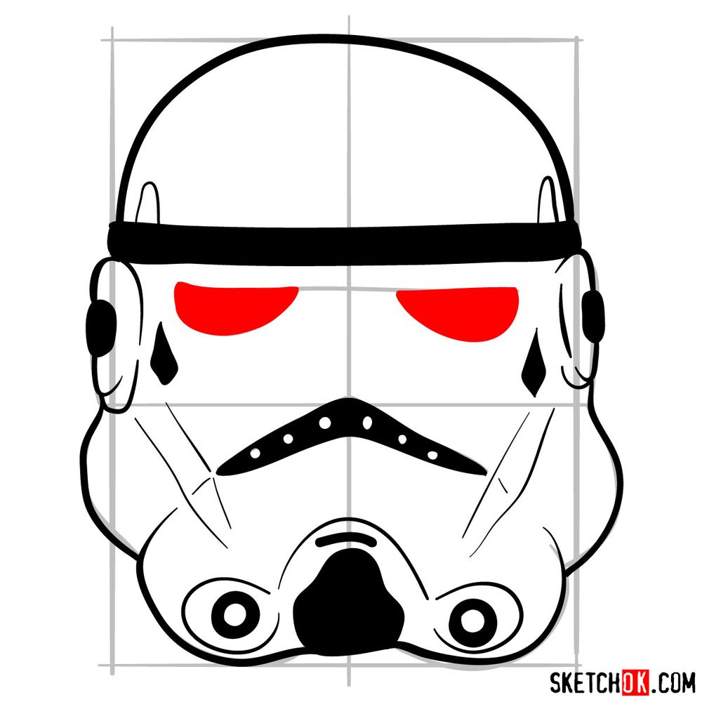 How to draw the Clone trooper's mask - step 08