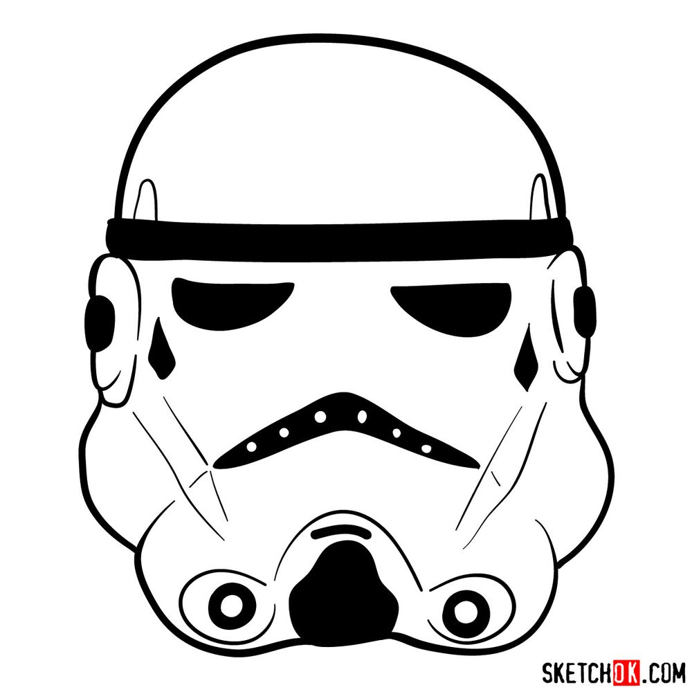 How to draw the Clone trooper's mask - step 09