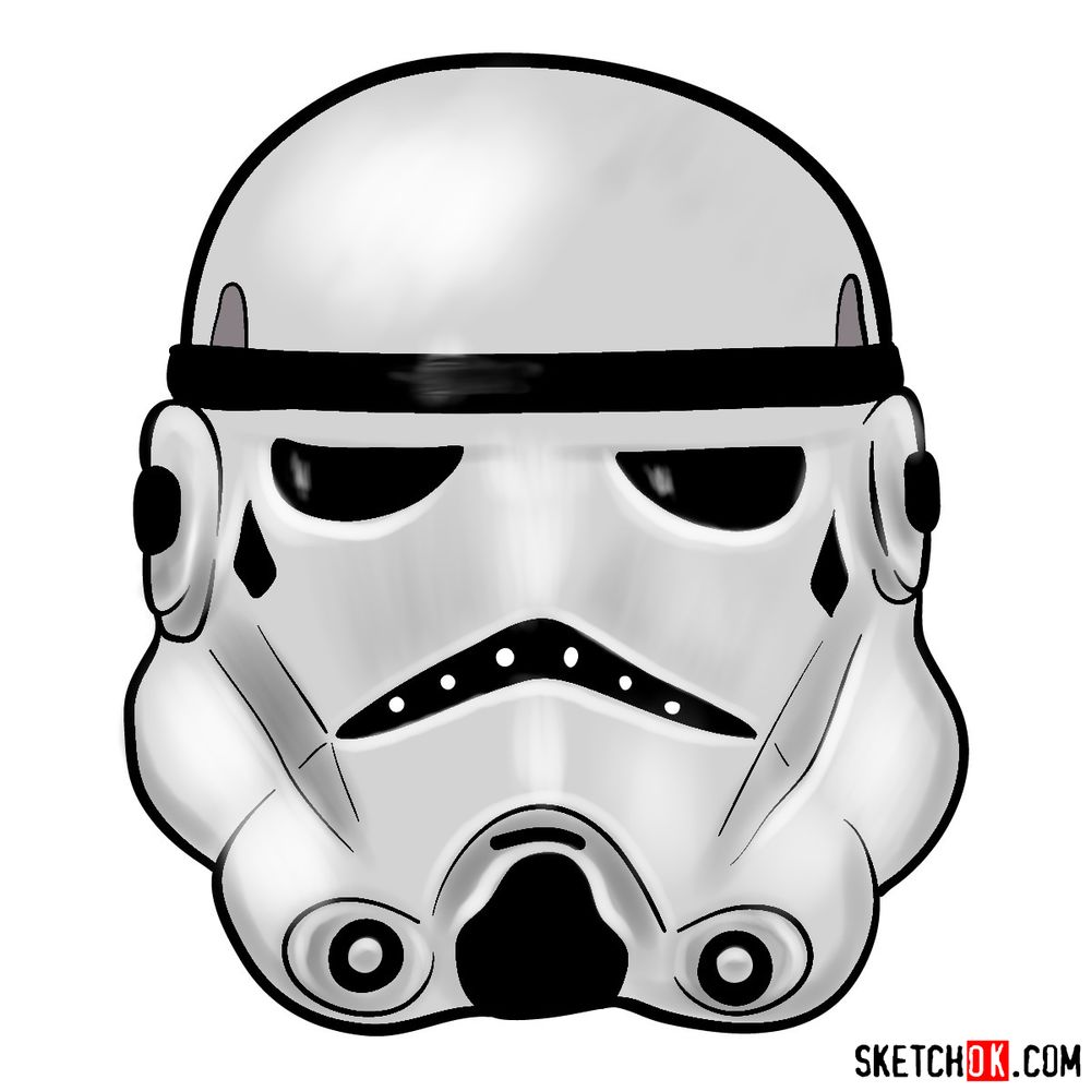 How to draw the Clone trooper's mask