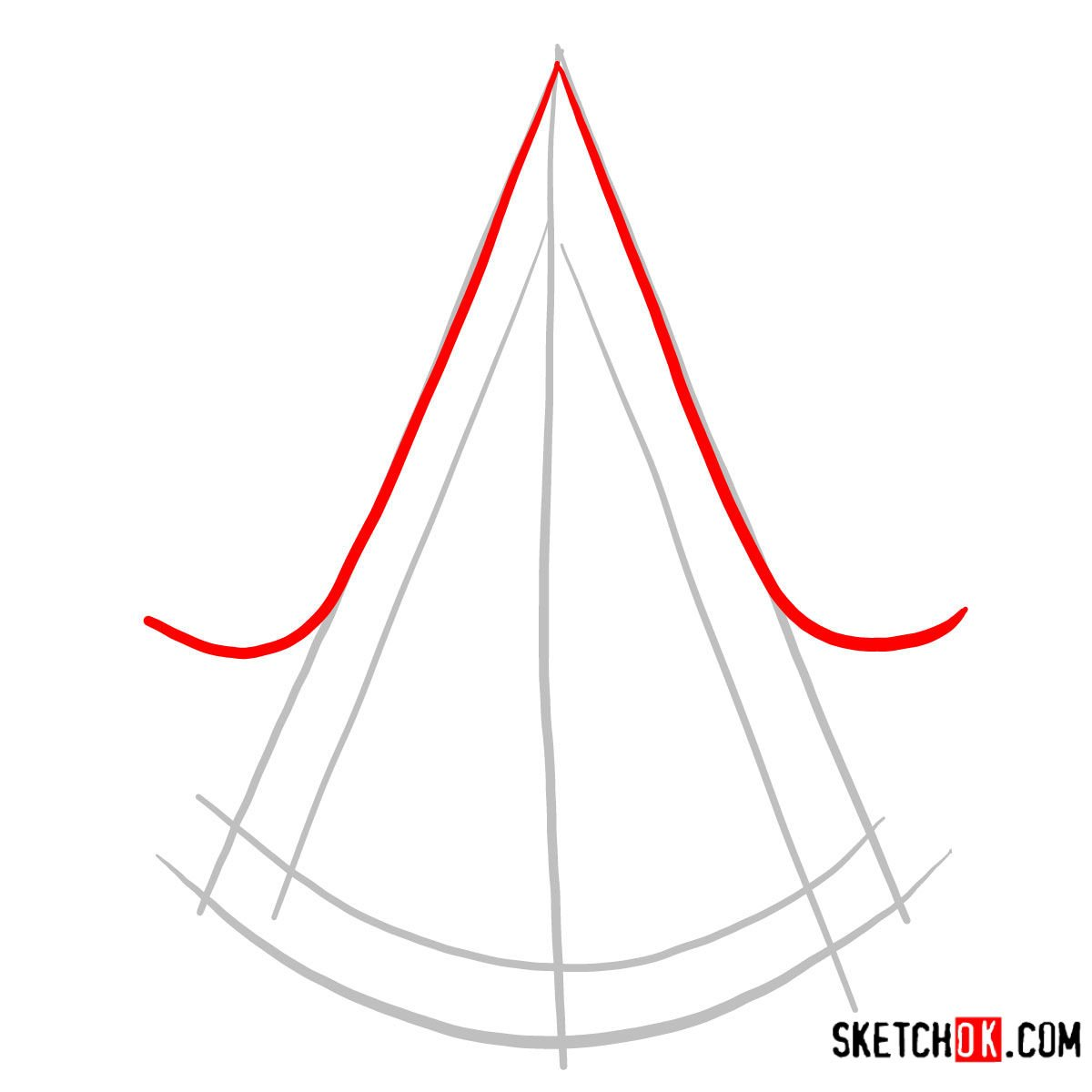 How to draw the Logo of Assassins | Assassin's Creed - step 02