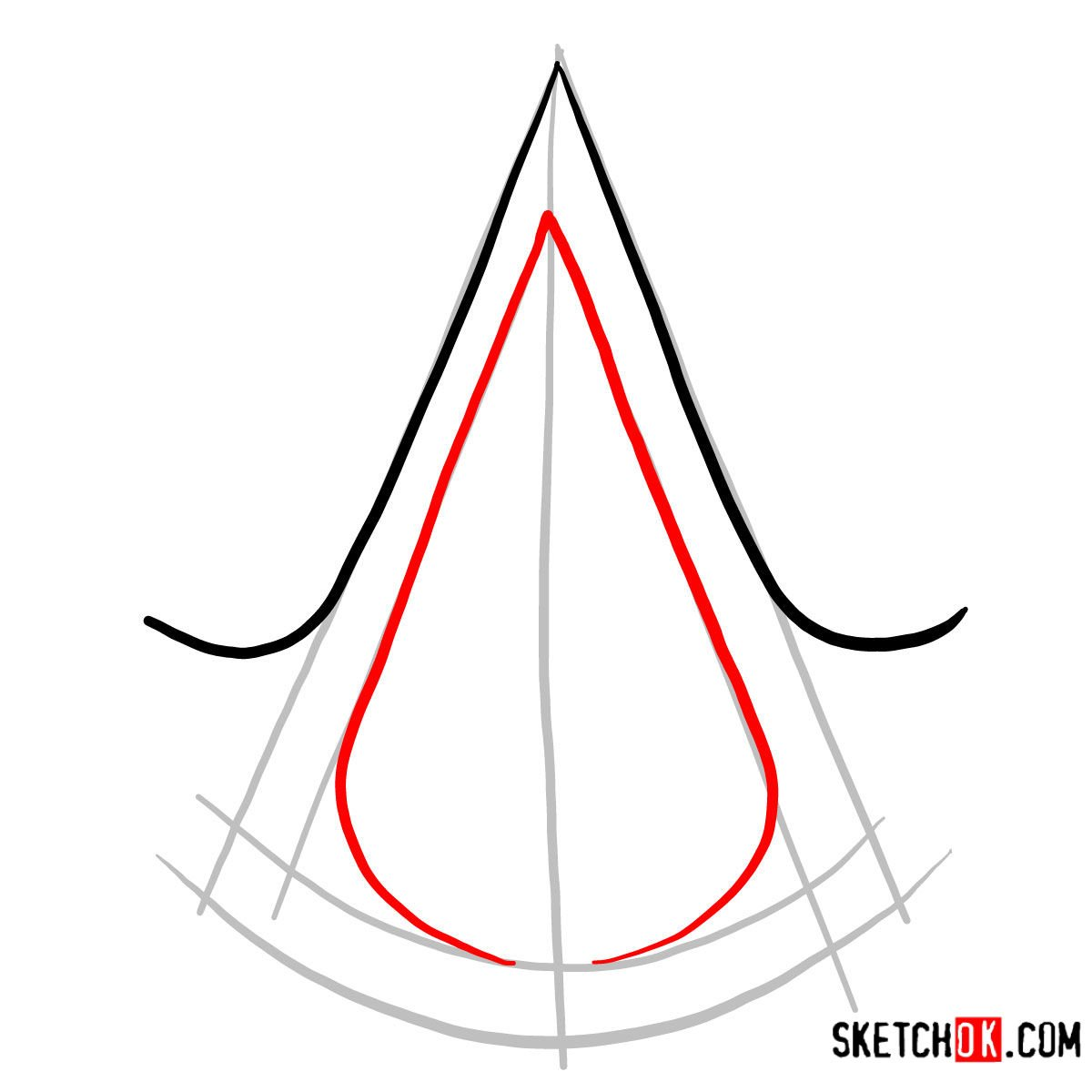 How to draw the Logo of Assassins | Assassin's Creed - step 03