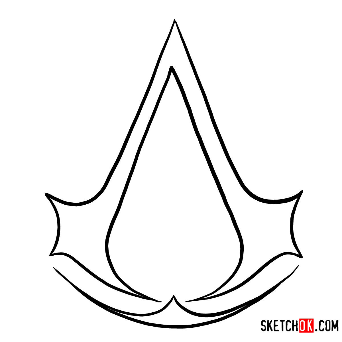 How To Draw The Logo Of Assassins Assassin S Creed Step By Step Drawing Tutorials