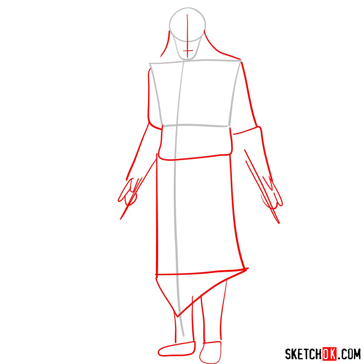 How to draw an Assassin from Assassin's Creed game - step 02