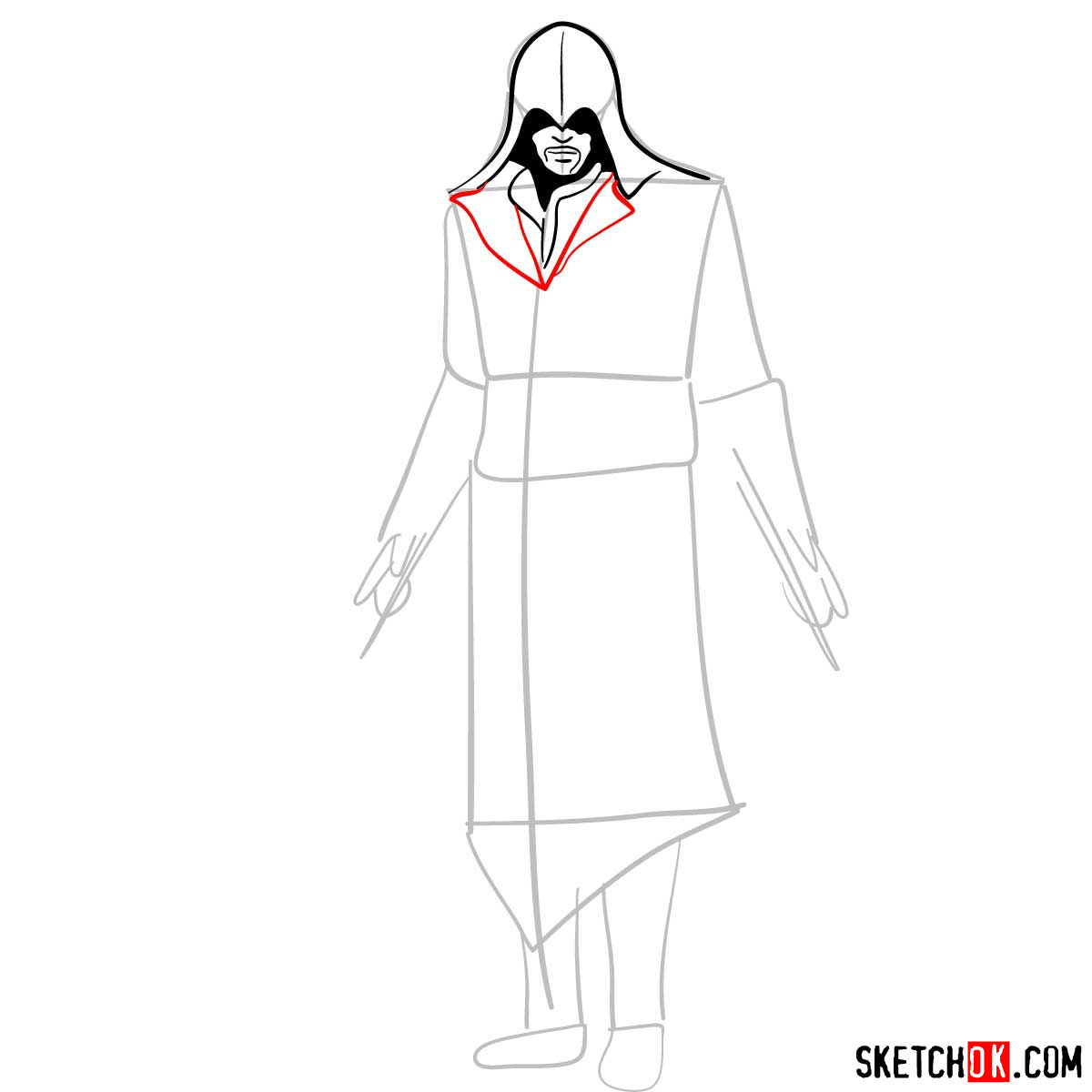 How to draw an Assassin from Assassin's Creed game - step 05