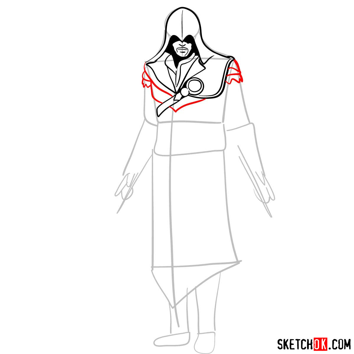 How to draw an Assassin from Assassin's Creed game - step 07