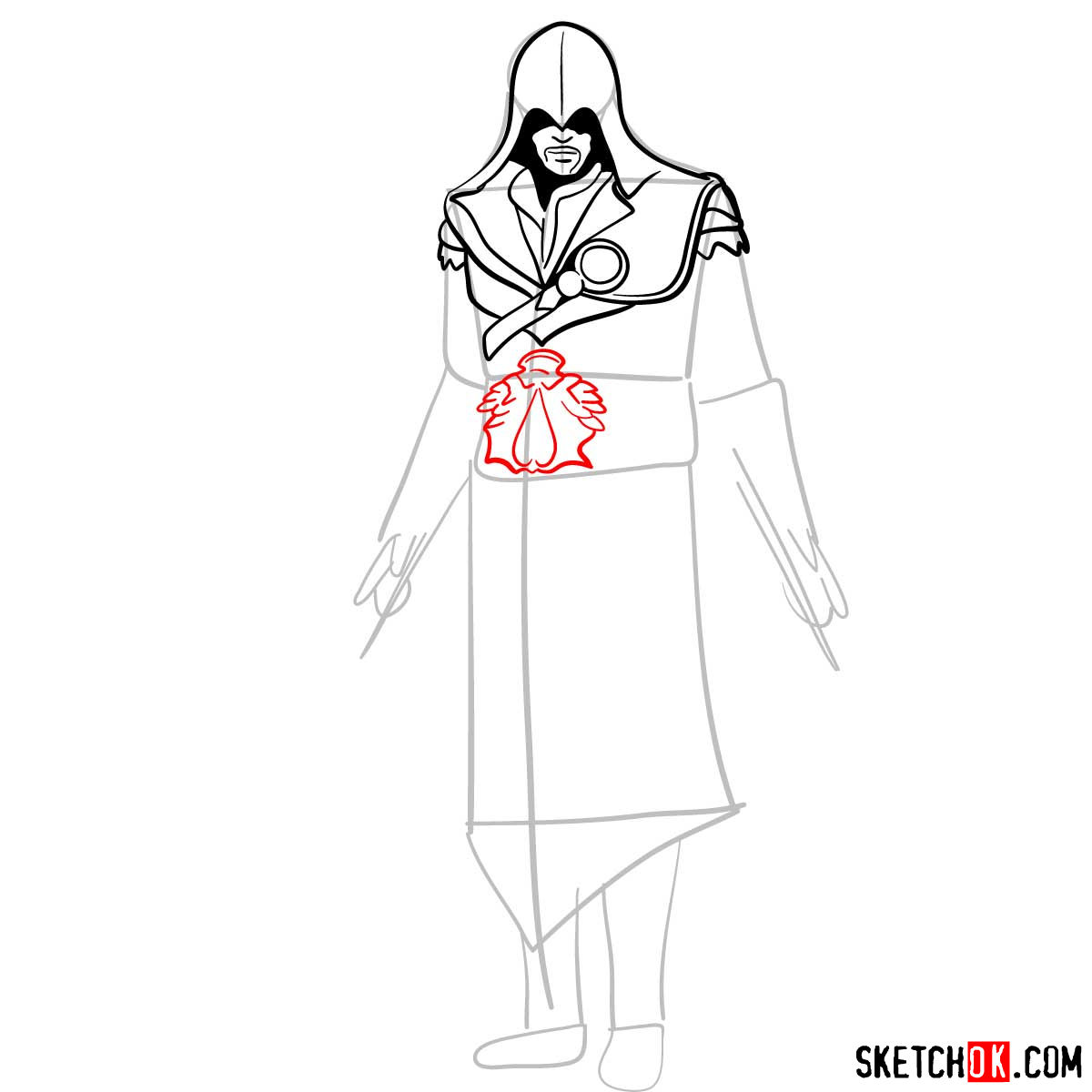 How to draw an Assassin from Assassin's Creed game - step 08