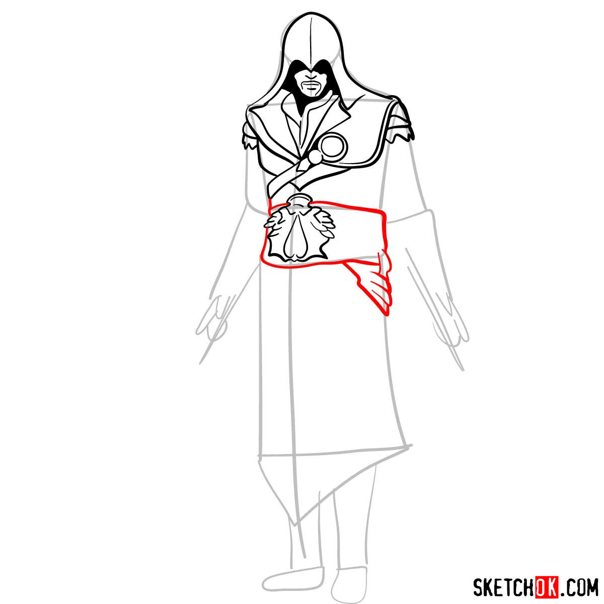 How to draw an Assassin from Assassin's Creed game - step 09