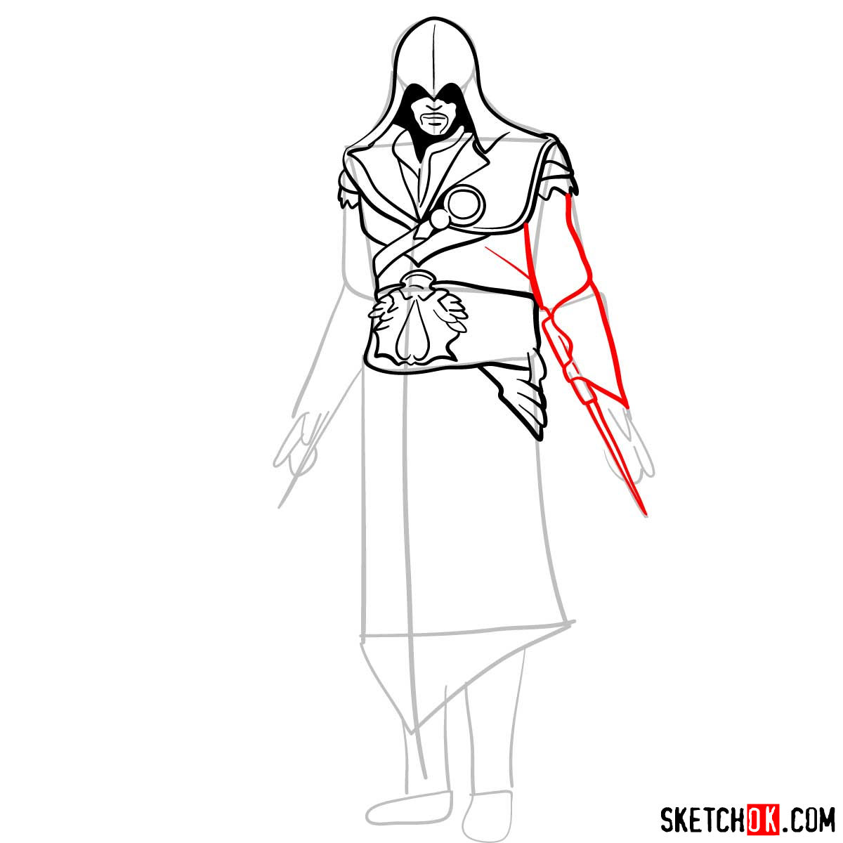 How to draw an Assassin from Assassin's Creed game - step 10