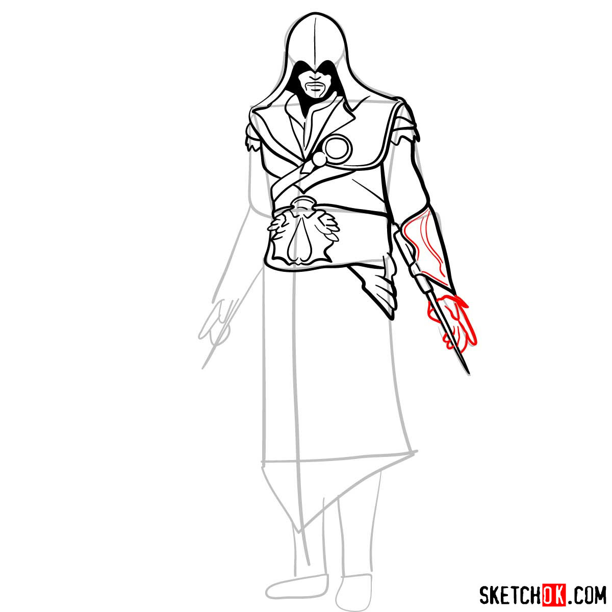 How to draw an Assassin from Assassin's Creed game - step 11
