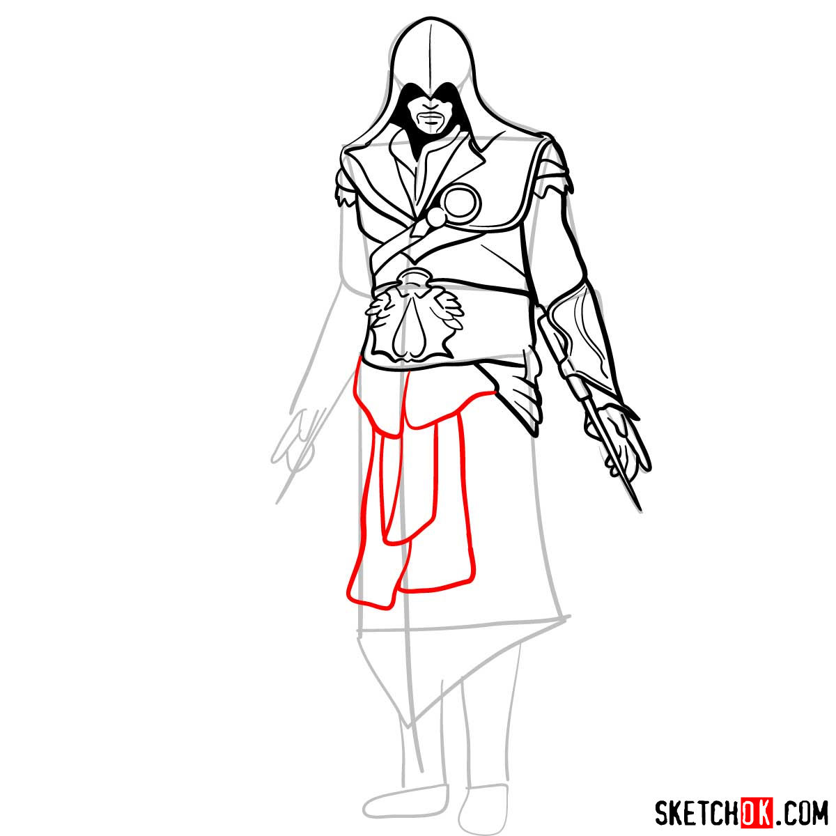 How to draw an Assassin from Assassin's Creed game - step 12