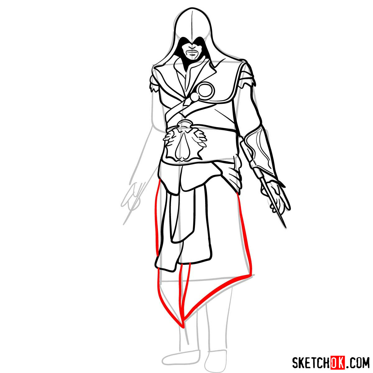 How to draw an Assassin from Assassin's Creed game - step 13