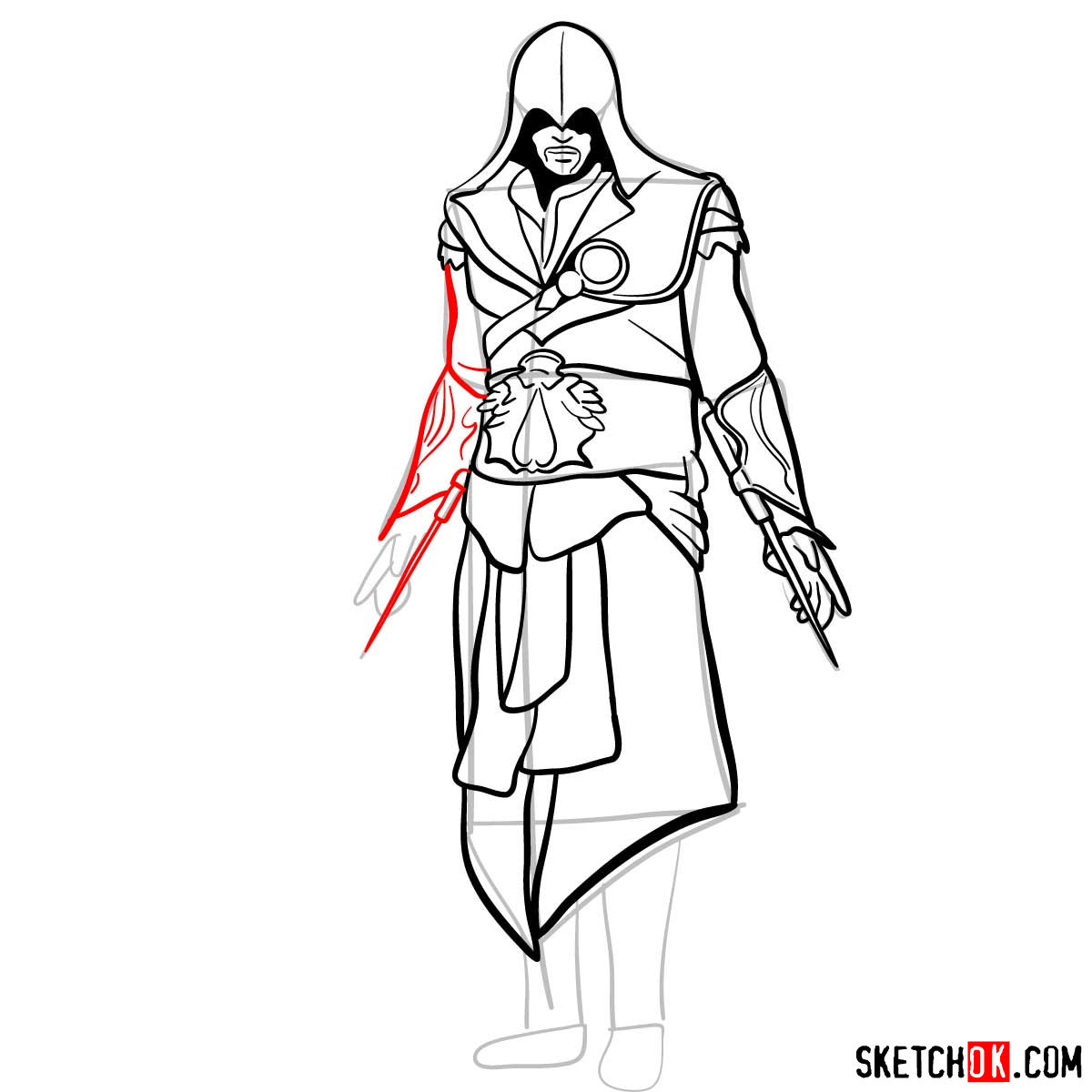 How to draw an Assassin from Assassin's Creed game - step 14