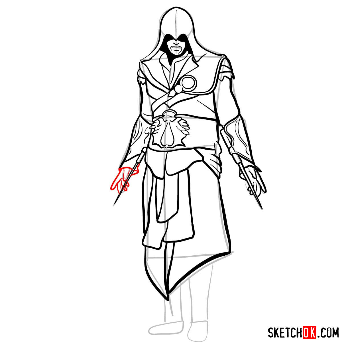 How to draw an Assassin from Assassin's Creed game - step 15