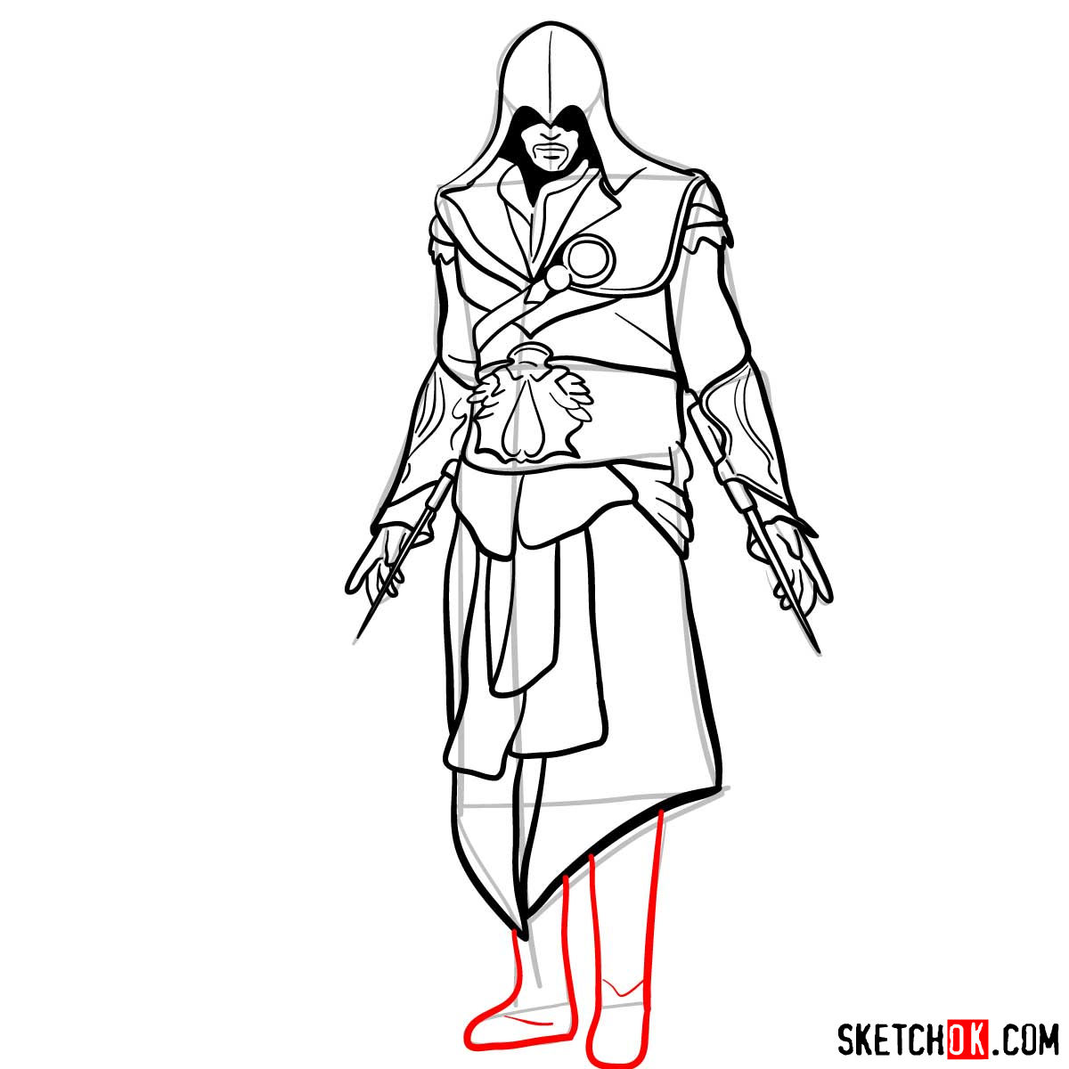 How to draw an Assassin from Assassin's Creed game - step 16