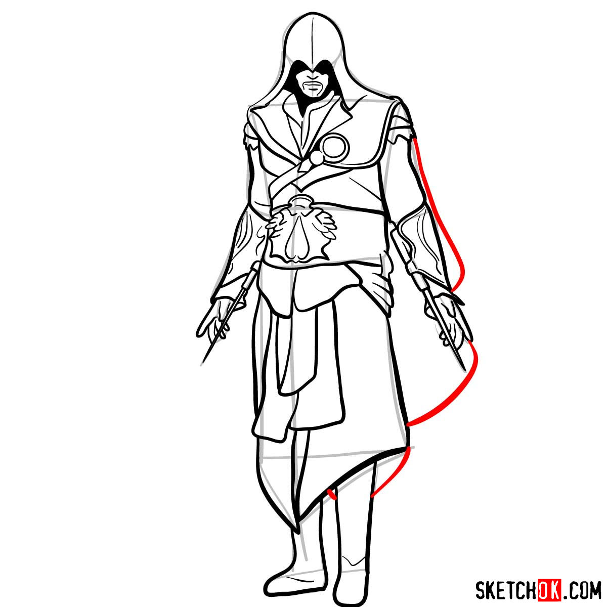 How to draw an Assassin from Assassin's Creed game - step 17