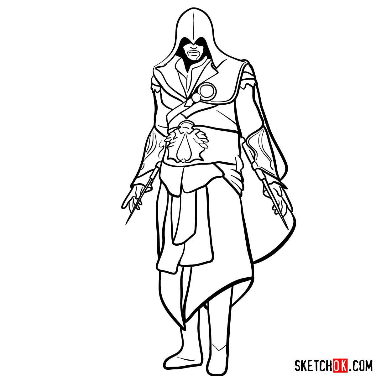 How To Draw An Assassin From Assassin S Creed Game Step By Step Drawing Tutorials