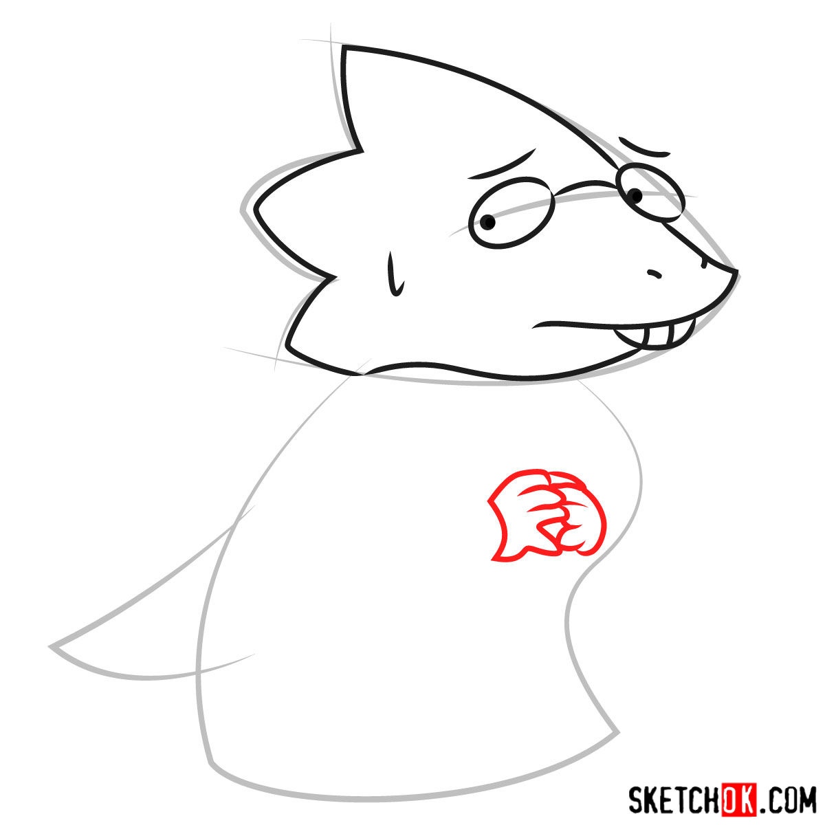 How to draw Dr. Alphys art version - step 05