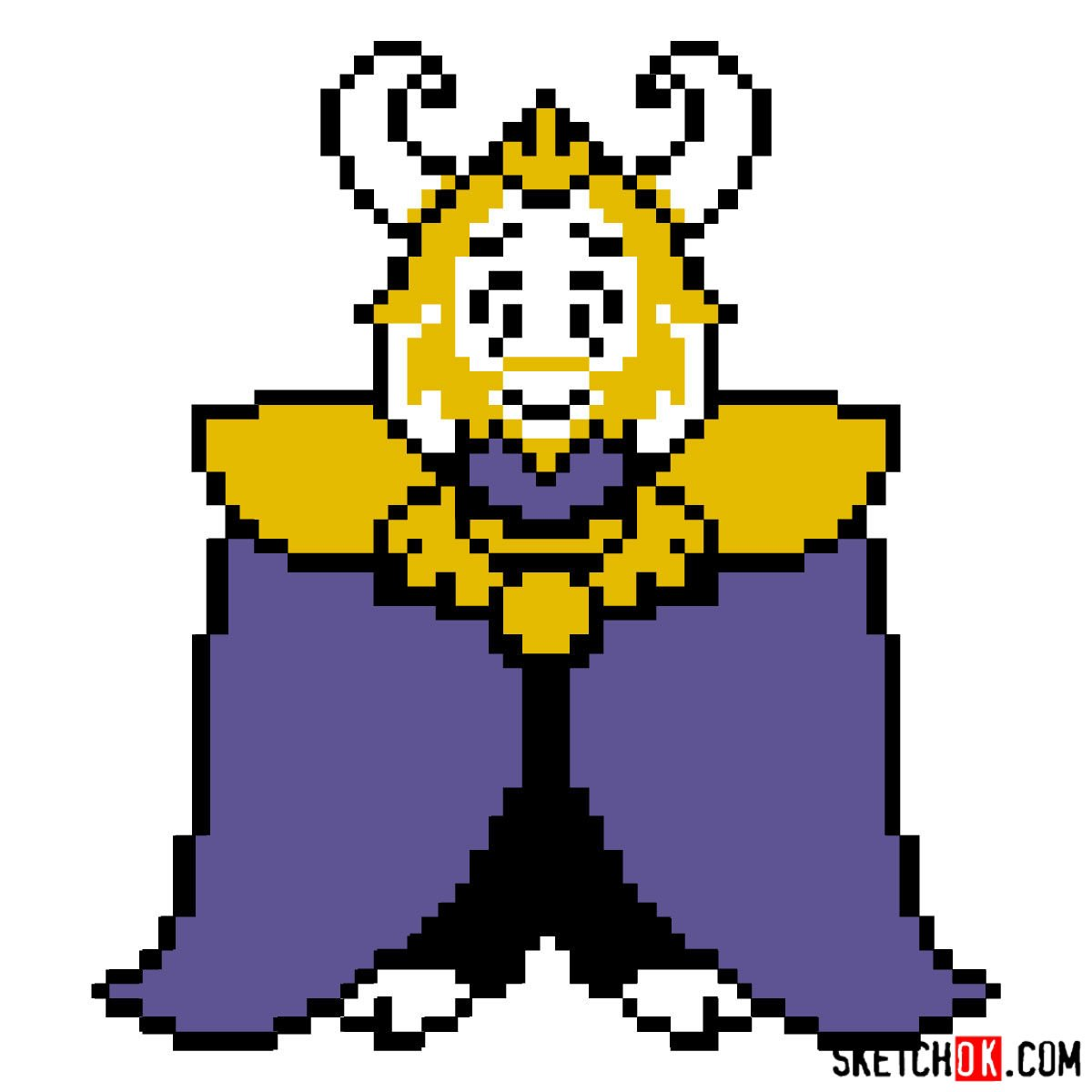How to draw King Asgore pixel version