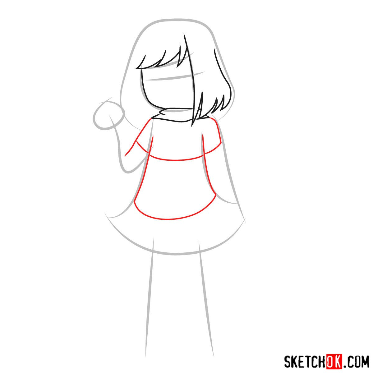 How to draw Betty Noir from Undertale - step 04