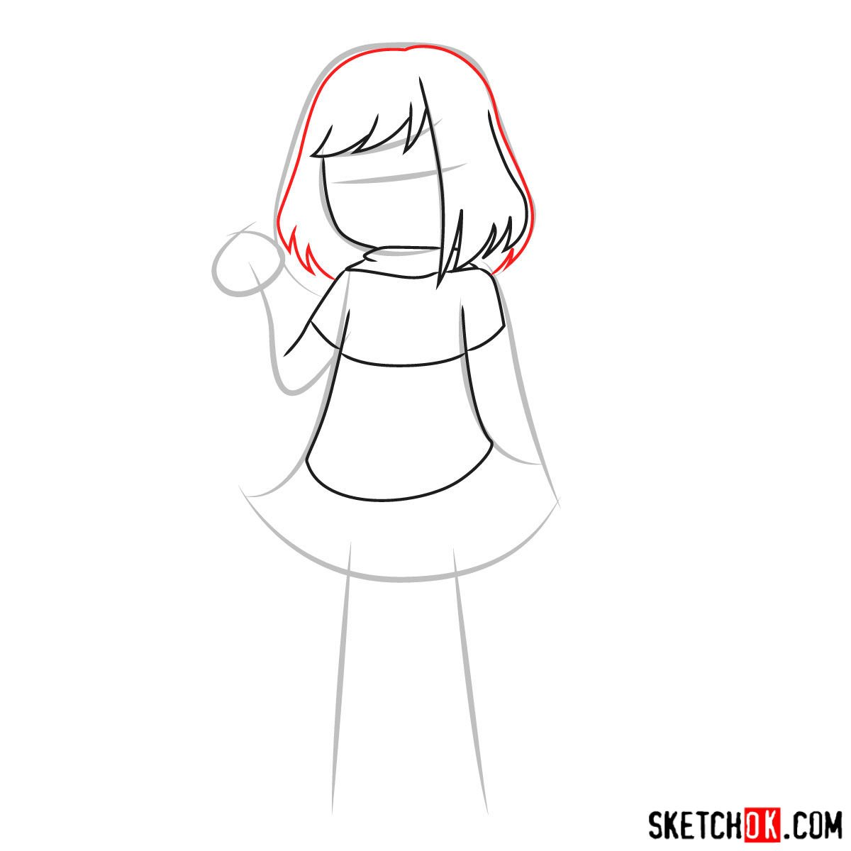 How to draw Betty Noir from Undertale - step 05
