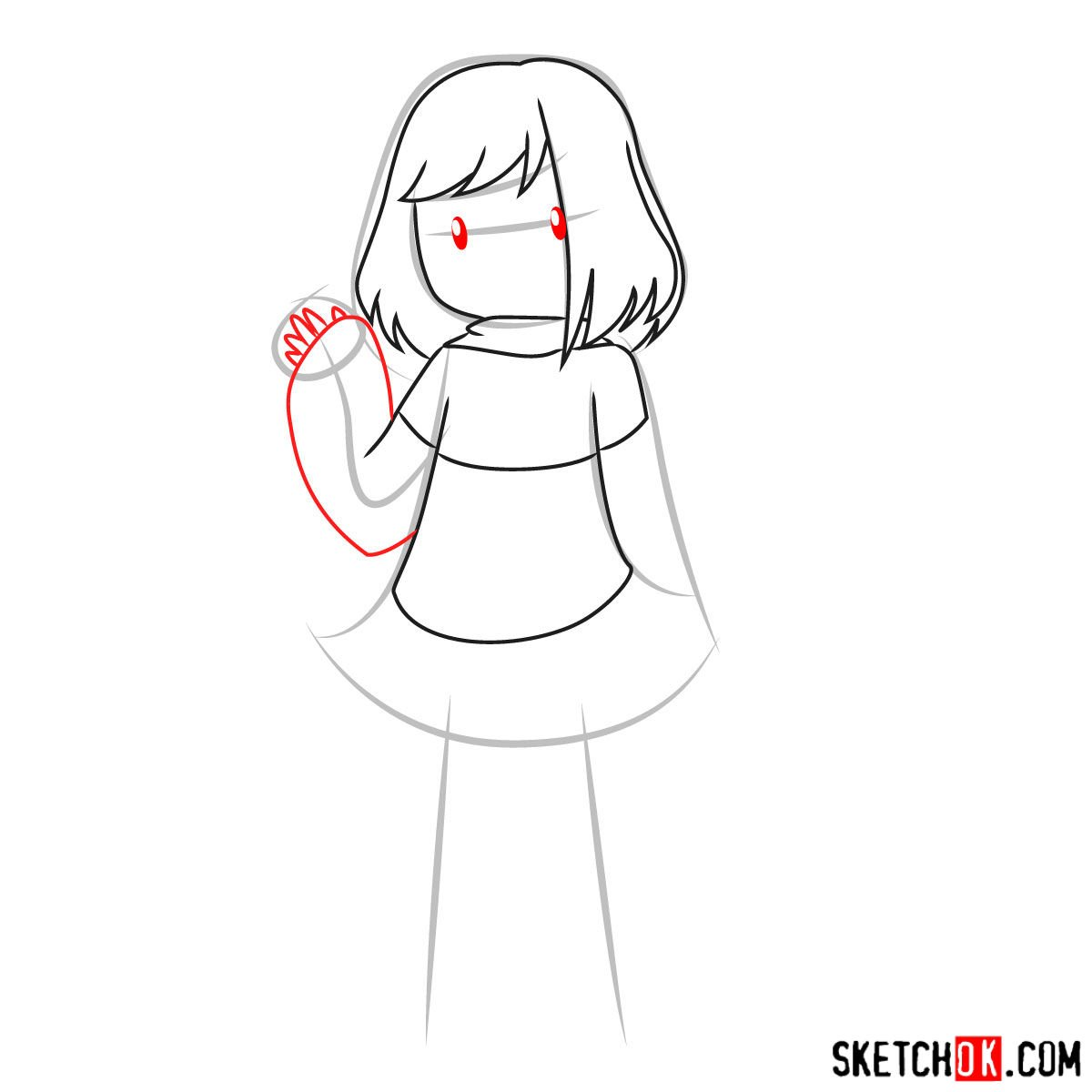 How to draw Betty Noir from Undertale - step 06