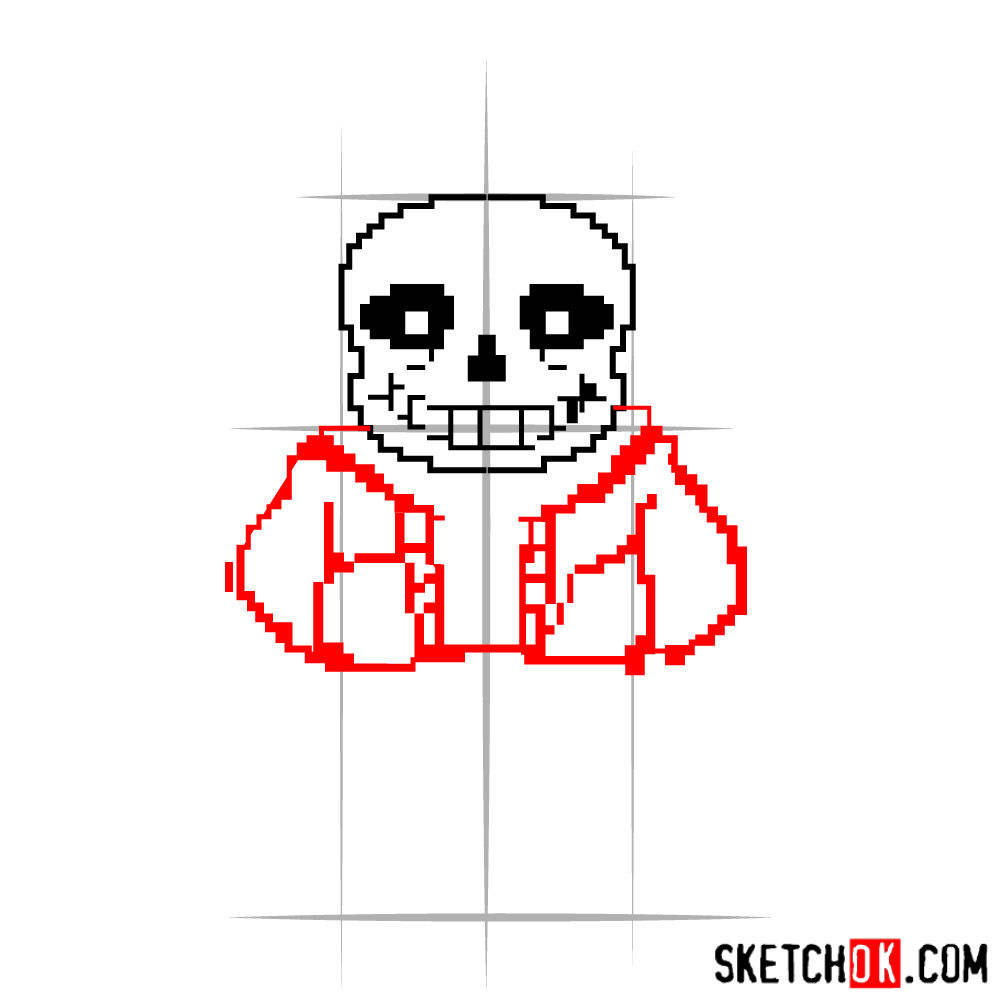 How to draw Sans pixel version from Undertale - step 04