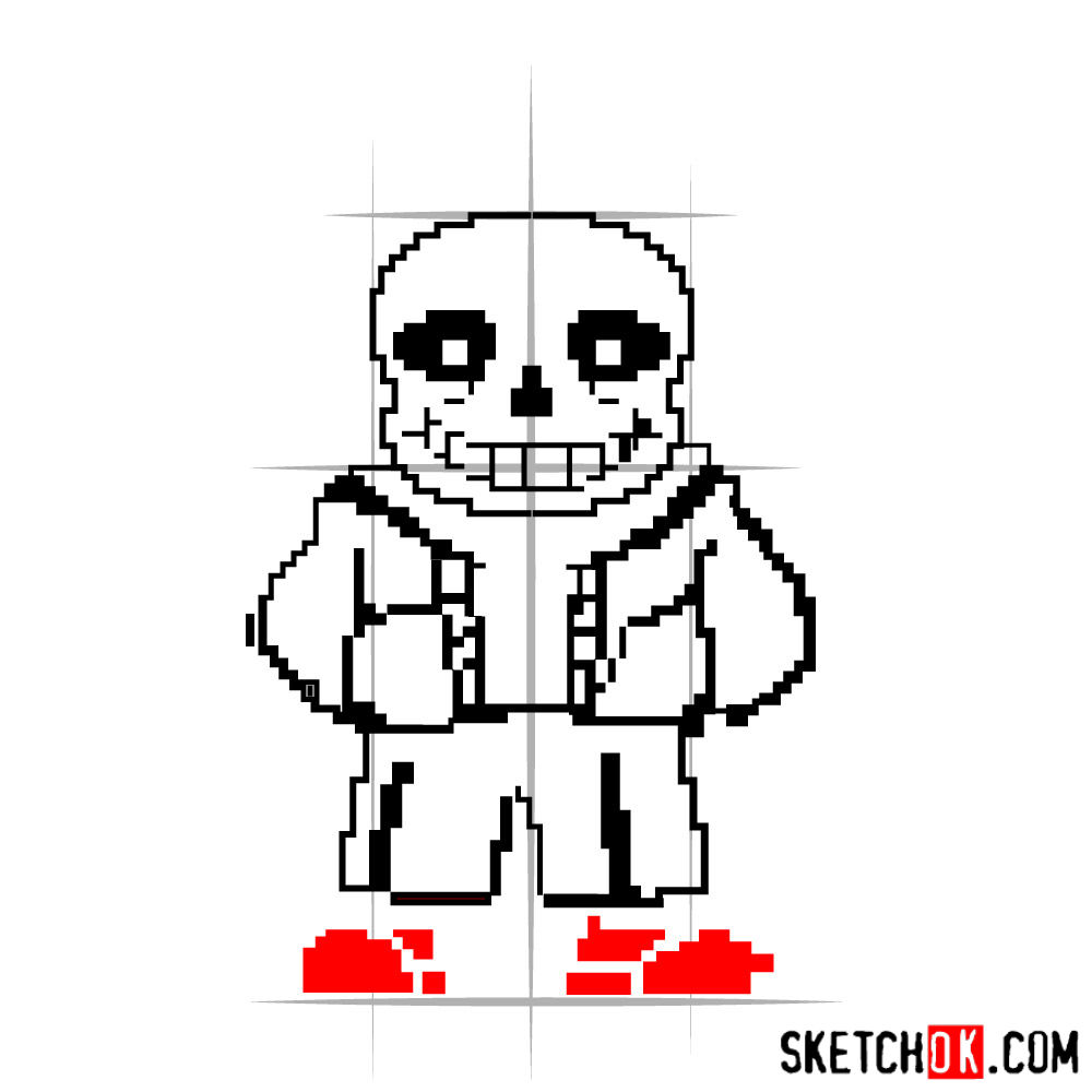 How to draw Sans pixel version from Undertale -  step 06