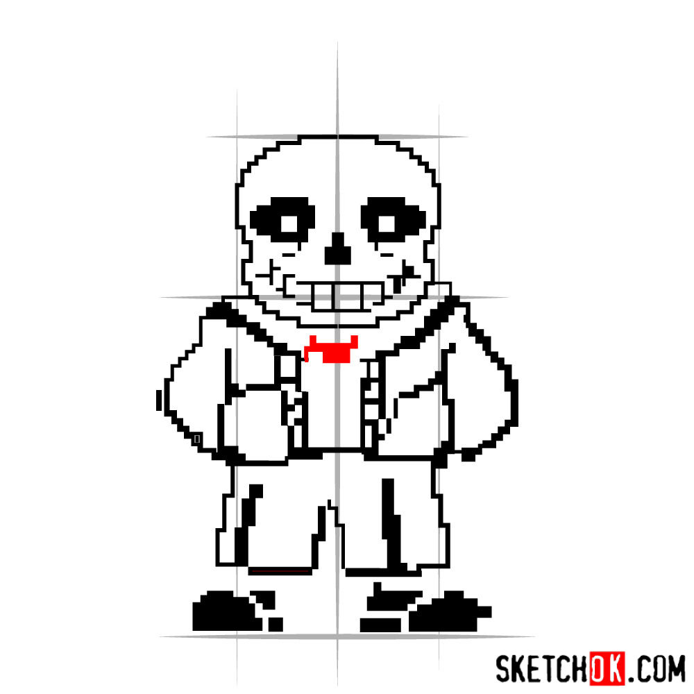 How to draw Sans pixel version from Undertale - step 07