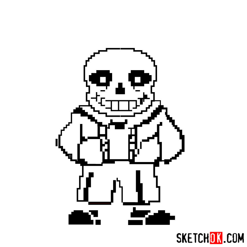 How to draw Sans pixel version from Undertale - step 08
