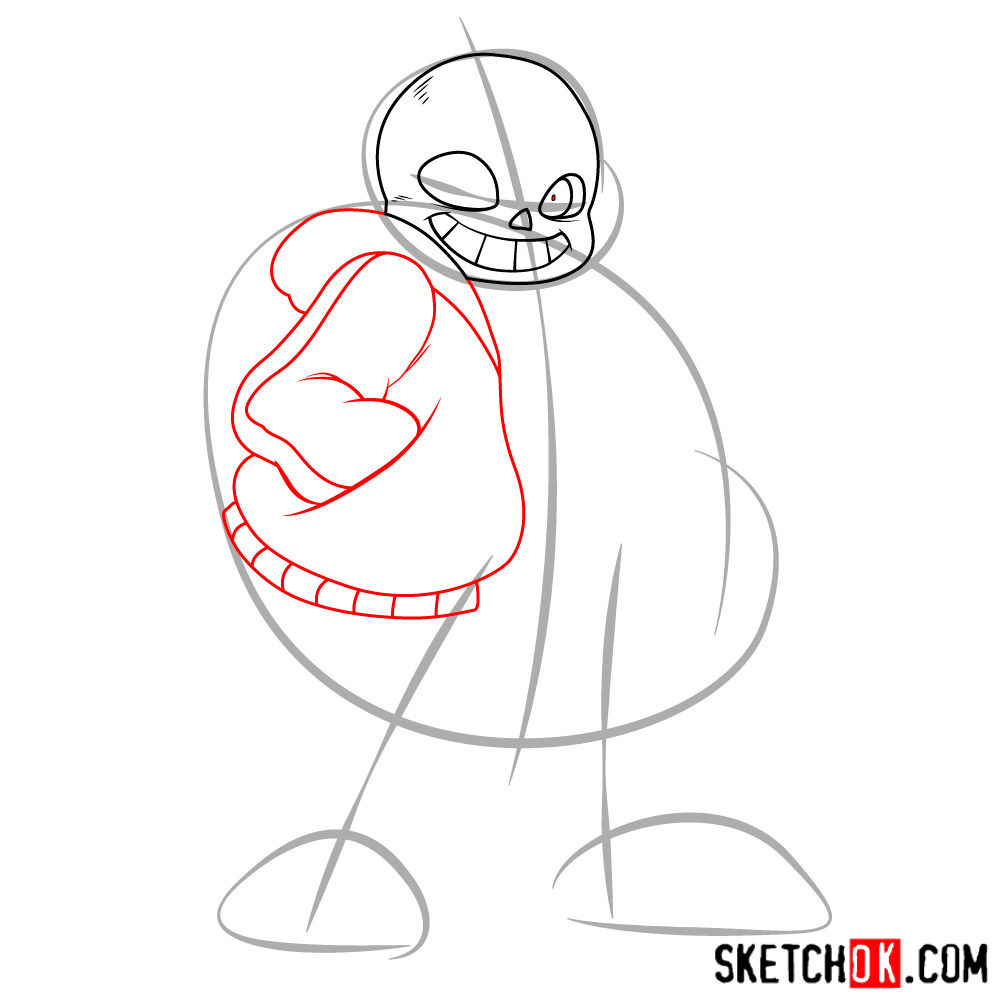 How to draw Sans art version - step 03