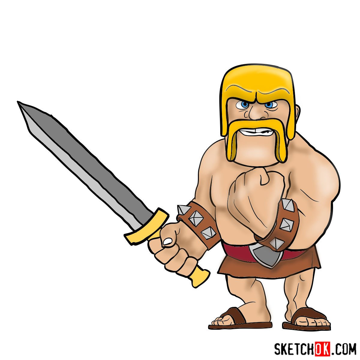 How to draw Barbarian from Clash of Clans