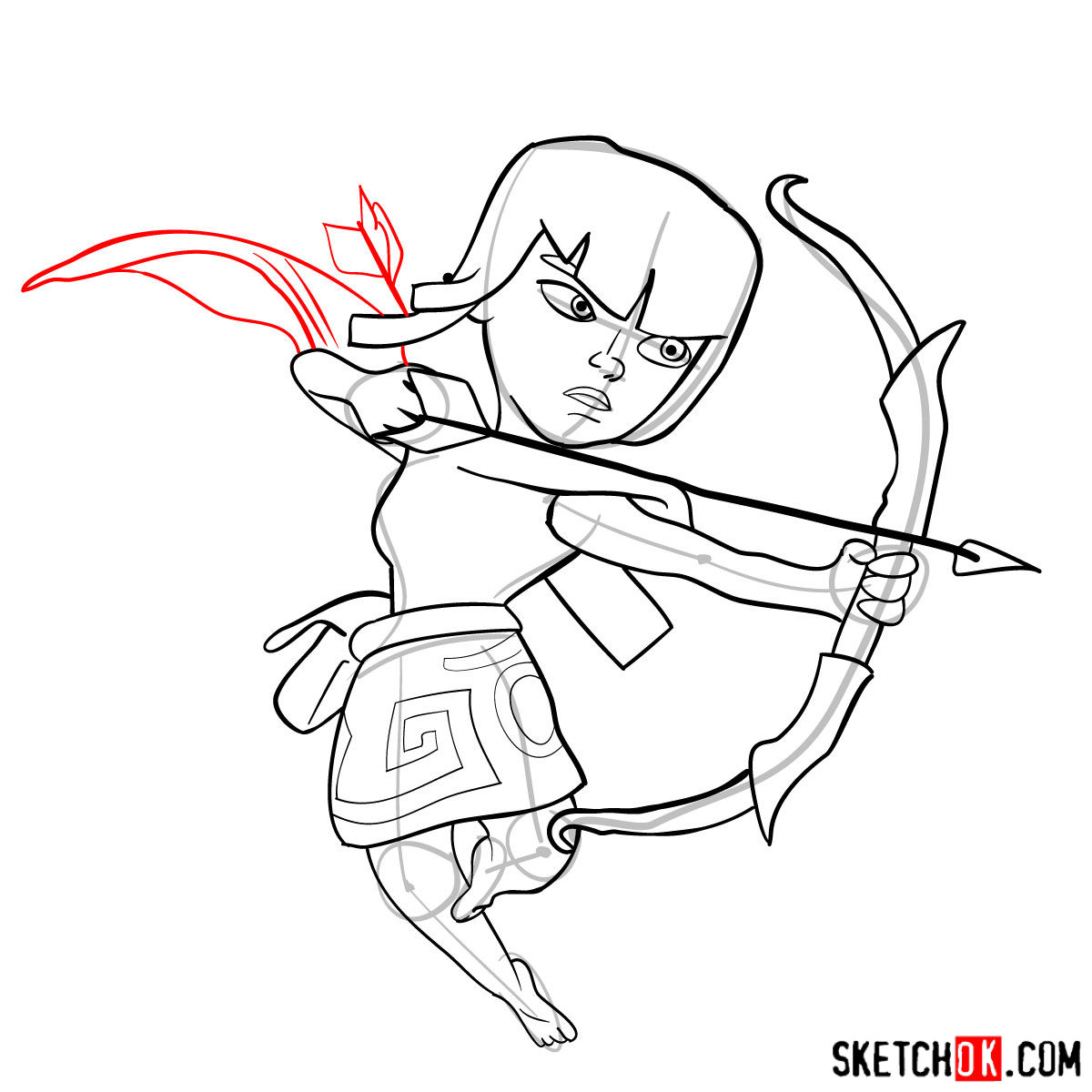 How to draw Archer from Clash of Clans - step 11