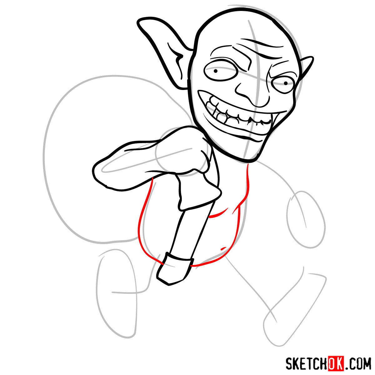 How to draw Goblin from Clash of Clans -  step 06