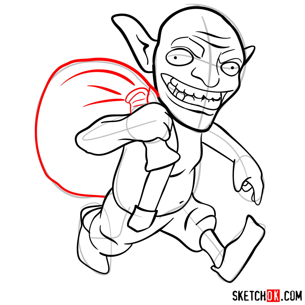 How to draw Goblin from Clash of Clans - step 10