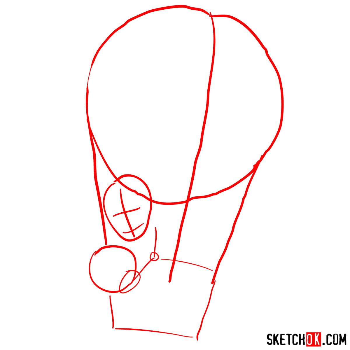 How to draw Balloon with a skeleton - step 01