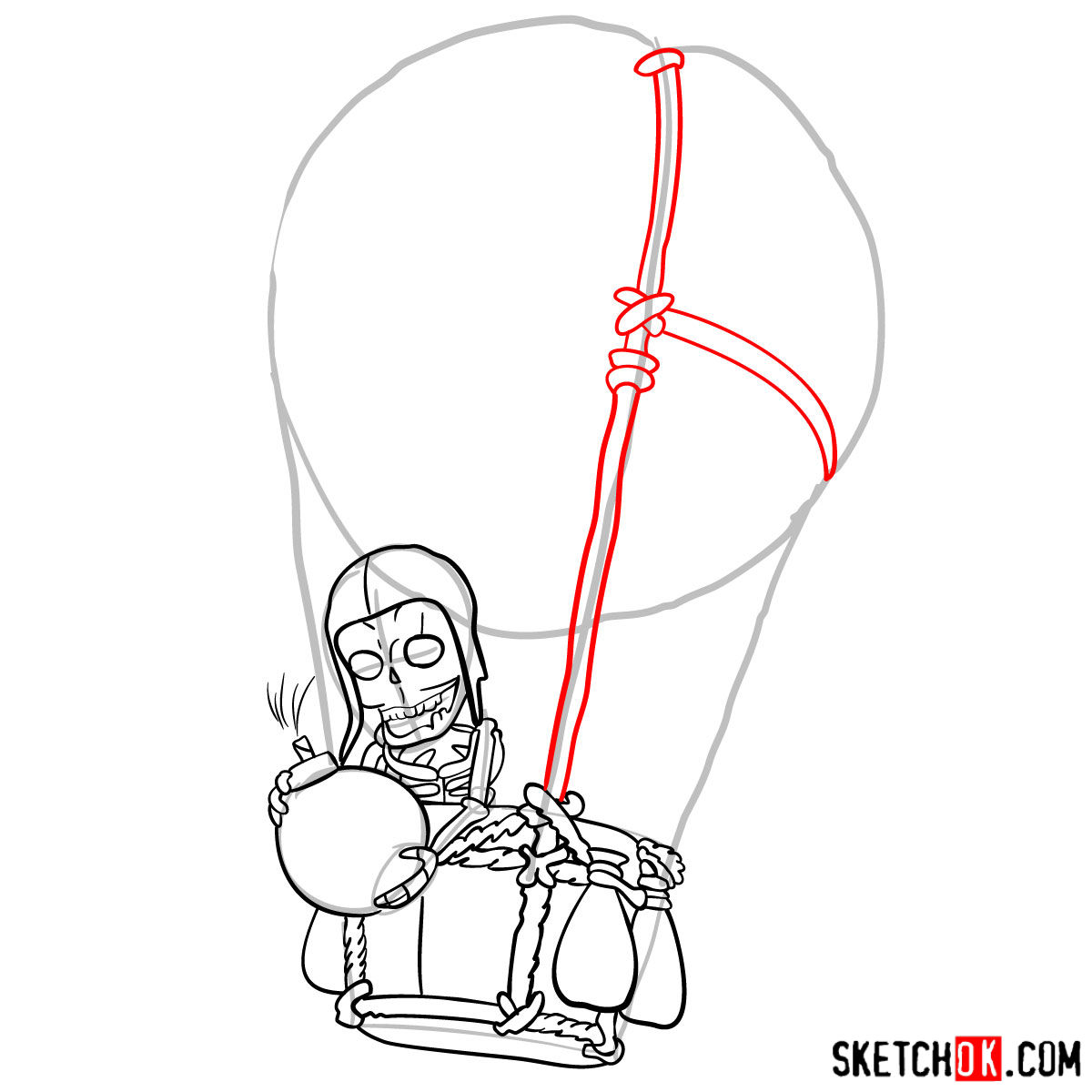 How to draw Balloon with a skeleton - step 07