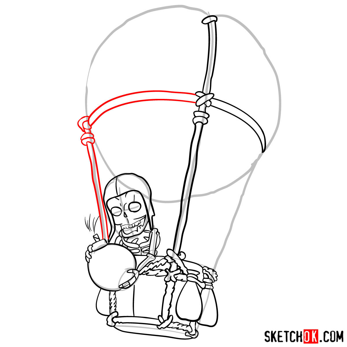 How to draw Balloon with a skeleton - step 08