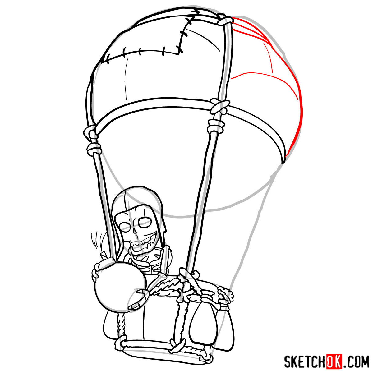 How to draw Balloon with a skeleton - step 10