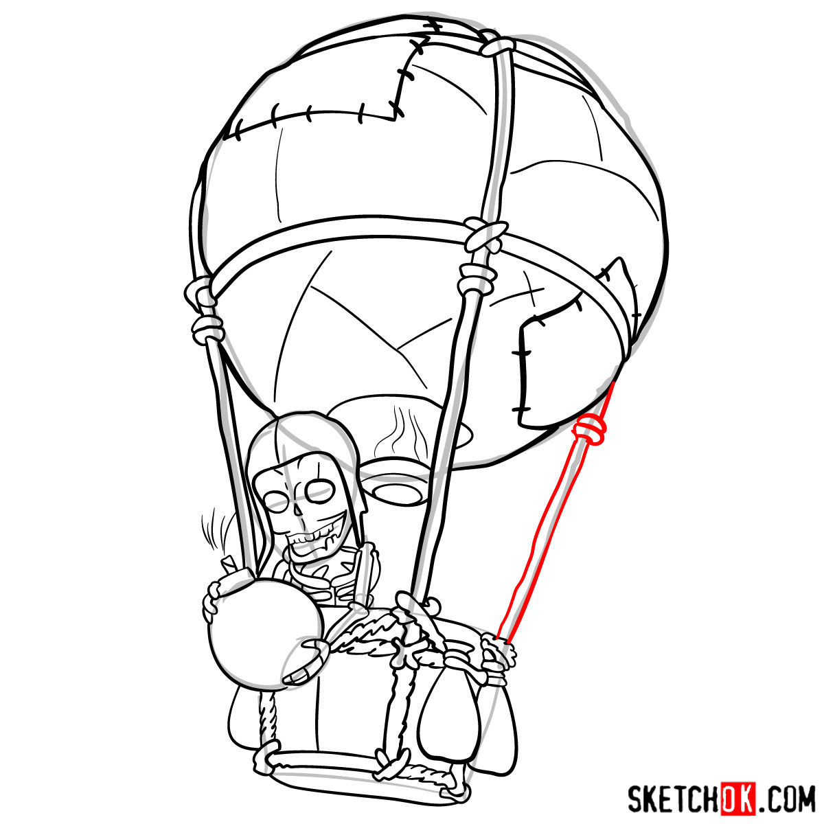 How to draw Balloon with a skeleton - step 12