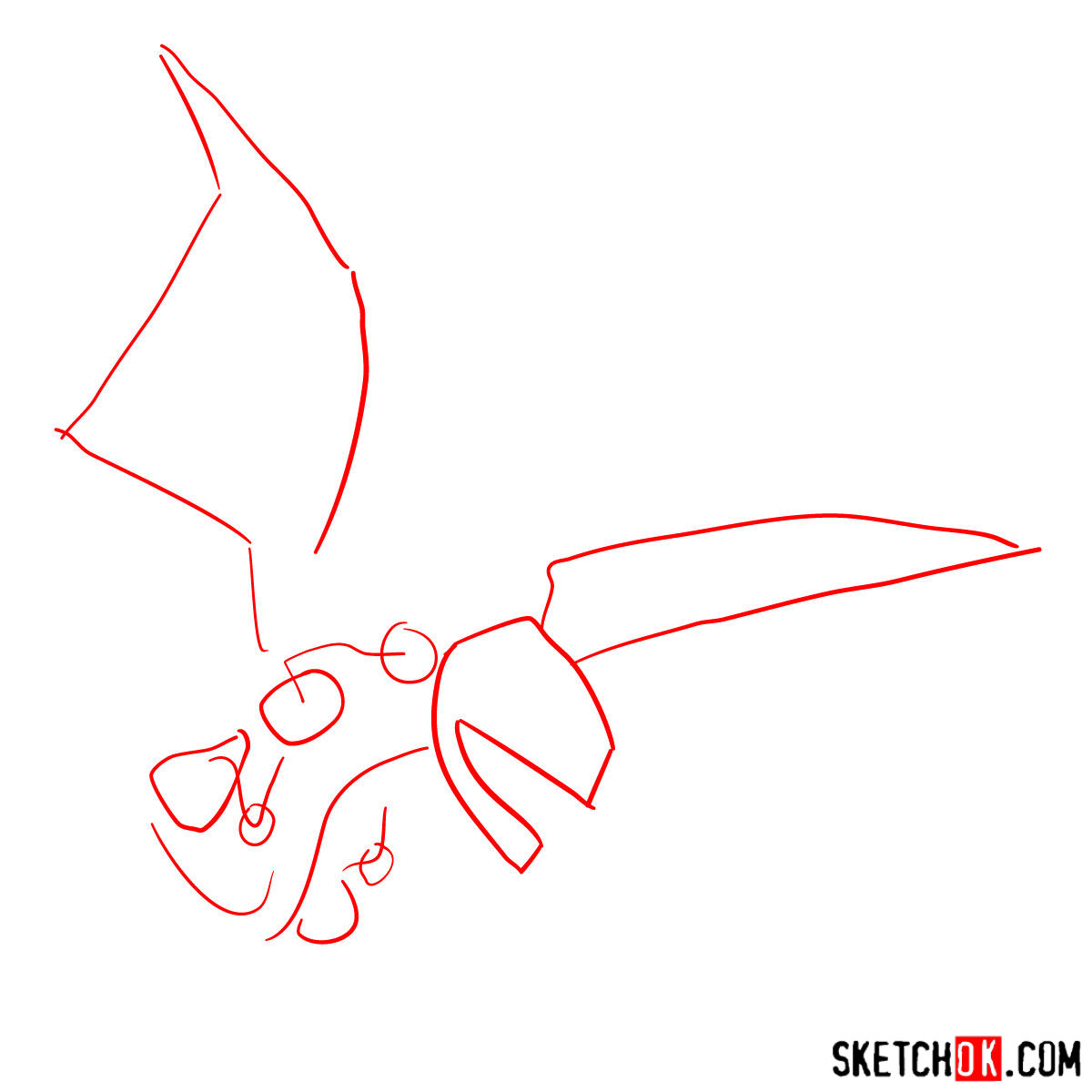 How to draw Dragon from Clash of Clans - step 01