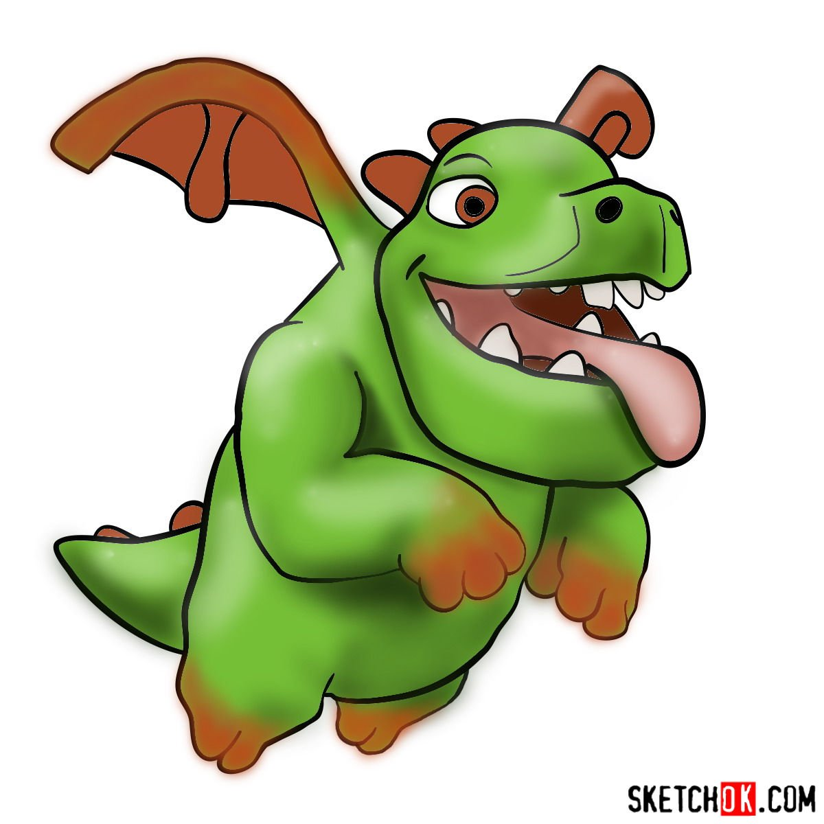 How to draw Baby Dragon from Clash of Clans