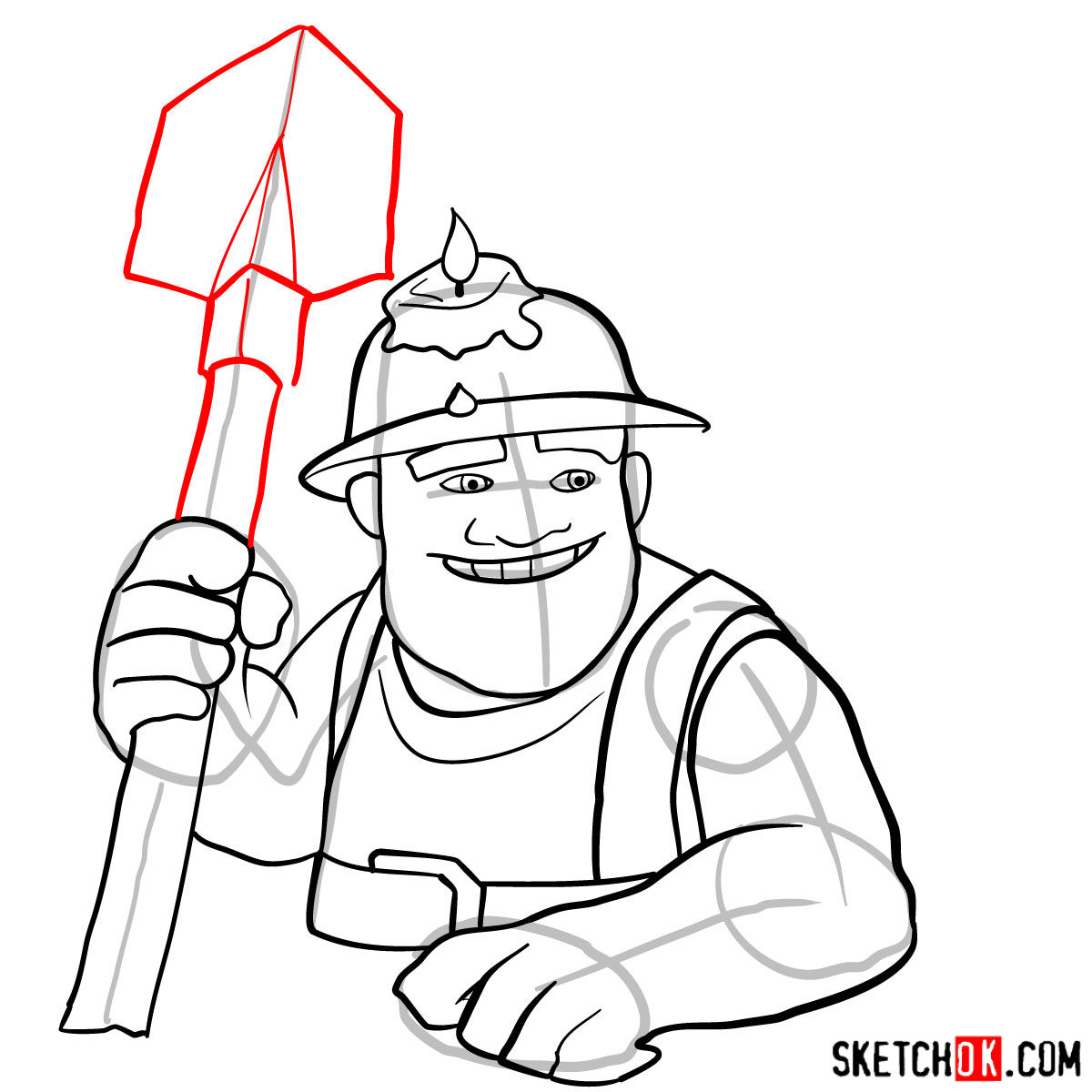 How to draw Miner from Clash of Clans game - step 11